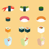 Vector set of Panasian food. Chinese and japanese cuisine Stock Images