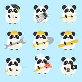 Vector set of pandas various professions: Scientist, accountant, teacher, engineer, worker, builder, doctor, baker, programmer vector illustration