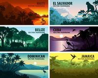 Vector set of panorams countries of caribbean and Central America Royalty Free Stock Image