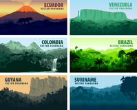 Vector set of panorams countries South America Royalty Free Stock Photos