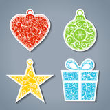 Vector set of paper Christmas stickers. Stock Images