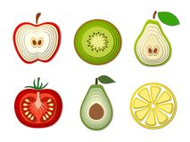 Vector set of paper cut fruits and vegetables, cut shapes. 3D abstract paper art style, origami concept design, food packaging,. Advertising, detox, cosmetics vector illustration