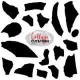 Vector set of paper cut pieces. Different shapes vector illustration