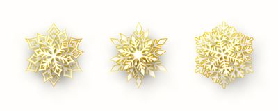 Vector set of 3 paper cut snowflakes with shadow. Vector set of 3 white and gold Christmas paper cut 3d snowflakes with shadow isolated on white background. New stock illustration