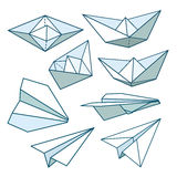 Vector set: paper planes and paper ships Stock Photography