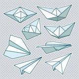 Vector set: paper planes and paper ships Royalty Free Stock Images