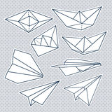 Vector set: paper planes and paper ships Royalty Free Stock Photography