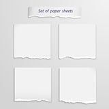 Vector set of   paper sheet over white Stock Photo