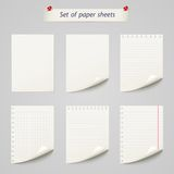 Vector set of  paper sheet ,texture notebook. Sheets isolated on a white background Royalty Free Stock Photography
