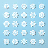 Vector set of paper snowflake stickers. Stock Photo