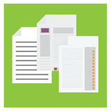 Vector set Paper statistics graph on green background Stock Photos