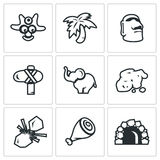 Vector Set of Papuan Icons. Savage Royalty Free Stock Photography