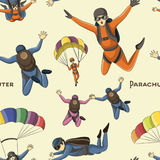 Vector set of parachuter pattern Royalty Free Stock Photos