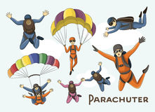 Vector set of parachuter Stock Photos