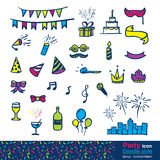 Vector : Set of party item in doodle style , include colorful co Royalty Free Stock Image