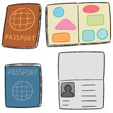 Vector set of passport. Hand drawn cartoon, doodle illustration royalty free illustration
