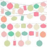 Vector Set of Pastel Colored Holiday Paper Lanterns. And Lights Stock Images