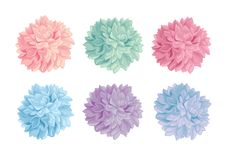 Vector Set of Pastel Colorful Birthday Party Paper Pom Poms. Great for handmade cards, invitations, wallpaper, packaging Royalty Free Stock Photography