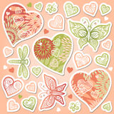 Vector set of pastel colorful hearts. Stock Photos