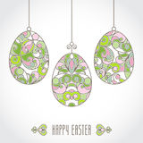 Vector set of pastel ornamental eggs for your Easter design. Spring element in Eastern style. Traditional vintage decor for invitations, greeting cards. Ornate Royalty Free Stock Image