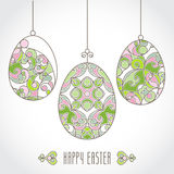 Vector set of pastel ornamental eggs for your Easter design. Spring element in Eastern style. Traditional vintage decor for invitations, greeting cards. Ornate Stock Images