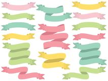 Vector Set of Pastel Ribbons Royalty Free Stock Photos