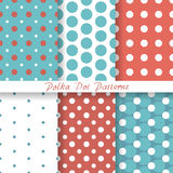Vector set pastel seamless patterns Polka Dot Royalty Free Stock Photography