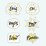 Vector set of patch badges with hand drawn phrases in brush style - slang expressions. Royalty Free Stock Photos