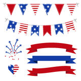 Vector Set of Patriotic Graphics for July 4. Stock Photography