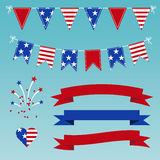 Vector Set of Patriotic Graphics for July 4. Royalty Free Stock Photo