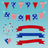 Vector Set of Patriotic Graphics for July 4. Royalty Free Stock Image