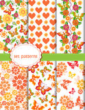 Vector set of patterns with butterflies and flowers Royalty Free Stock Image