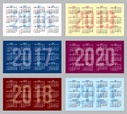Vector set of patterns with calendars of different years. Vector set of colored patterns with calendars of different years vector illustration