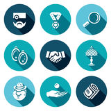 Vector Set of Pawnshop Icons. Appraiser, Jewel, Cost estimate, Jewelry, Deal, Rarity, Criminal, Pay, Money. Stock Image