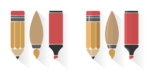 Vector set of pencil, brush, and marker Stock Image