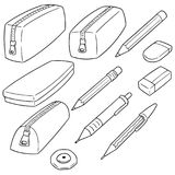 Vector set of pencil case. Hand drawn cartoon, doodle illustration royalty free illustration