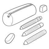 Vector set of pencil case. Hand drawn cartoon, doodle illustration stock illustration
