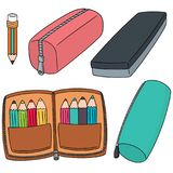 Vector set of pencil case. Hand drawn cartoon, doodle illustration stock illustration