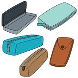 Vector set of pencil case. Hand drawn cartoon, doodle illustration vector illustration