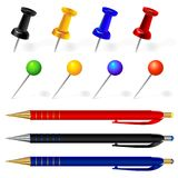 Vector Set of pens and pins different colors. Vector black, red, blue, yellow, green pins and pens Royalty Free Stock Photo