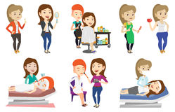 Vector set of people during beauty procedures. Royalty Free Stock Photo