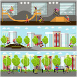 Vector set of people on bicycle, skateboard, rollers and scooter. Skate park banners. Stock Images