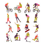 Vector set of people on bicycle, skateboard, rollers and scooter. Sport design icons. Teenager makes tricks, stunts. Royalty Free Stock Photos
