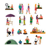 Vector set of people buying food and enjoying barbecue in a park. Icons, design elements. Vector set of people buying food and enjoying barbecue in a park. Icons Royalty Free Stock Images