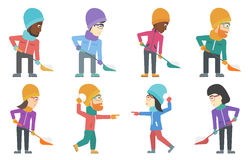 Vector set of people characters in winter. Stock Image