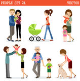 Vector set of people with children Royalty Free Stock Images