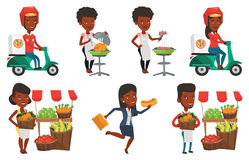 Vector set of people eating and drinking. Stock Images