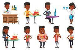 Vector set of people eating and drinking. Royalty Free Stock Images
