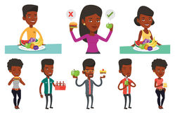 Vector set of people eating and drinking. Royalty Free Stock Photos