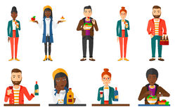 Vector set of people eating and drinking. Stock Image